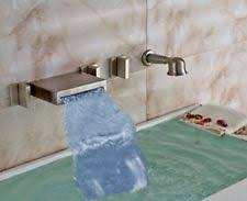 reston wall mount waterfall tub faucet brushed nickel ebay signature hardware reston wall mount waterfall tub faucet 378999