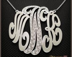 Three Initial Monogram Necklace 14kt Gold Three Initial Cut Out Monogram Initial Pendant 3