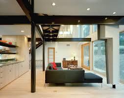 interior modern beach house kitchen design with dark brown