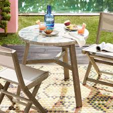 Mosaic Bistro Table Mosaic Tiled Outdoor Bistro Table Two Tone Geo West Elm