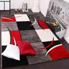 tappeto moderno rosso tappeto di design orlo modello a quadri nei colori bianco rosso