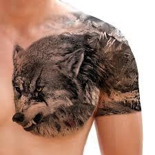 unique half wolf half mountain chest タトゥーコンペ