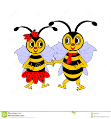 a couple of funny cartoon bees stock image image 35561901