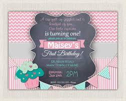 girls 1st birthday invitation first birthday cupcake invitation