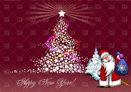 new year background with christmas tree and santa claus vector