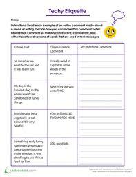 techy etiquette worksheet education com