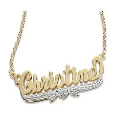 3 name necklace 3 d script name necklace with diamond accent 38769 limoges jewelry