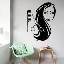 girl comb scissors hairdressing salon beauty wall sticker home art girl comb scissors hairdressing salon beauty wall sticker home art design interior vinyl stickers livign room decor decal m 53 in wall stickers from home