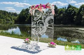 wedding backdrop altar wedding backdrop ceremony altar backdrop glass etched floral
