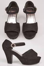 Platform Heels Comfort Black Comfort Insole Open Toe Heeled Shoe With Platform U0026 Diamante