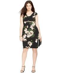 lauren by ralph lauren plus size floral print cowl neck dress lyst