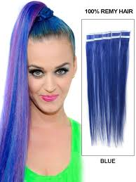 24 inch extensions inch funky blue in hair extensions 10pcs