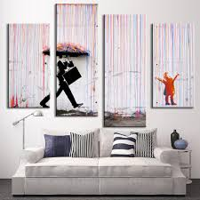 4 pcs set banksy art colorful rain oil painting paintings printed