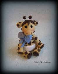 giraffe baby shower cake topper polymer clay baby giraffe