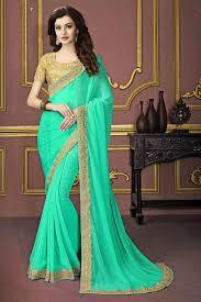 color designer cyan color designer festive wear embroidered saree in georgette