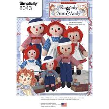 pattern for raggedy ann and andy dolls simplicity