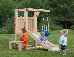 Playsets Outdoor Frolic 4 Wooden Playset And Swing Set Cedarworks Slides