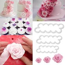 Christmas Cake Decorations Amazon Uk 3pcs sugarcraft cutters 3d rose petal cake cutter flower fondant