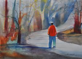 walking the path watercolor painting african american art