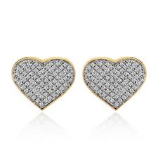 heart shaped earrings avital co jewelry 10k yellow gold 0 75 ct pave set diamond