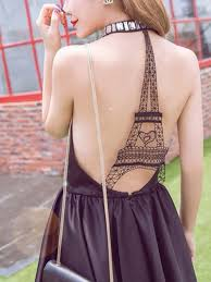 backless dress black halter plunge neck cut away eiffel tower backless dress abaday