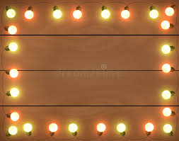 Amber Christmas Lights Christmas Lights On Wooden Background Frame With Stock Vector
