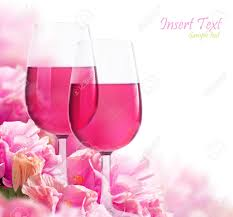 the beautiful backdrop of flowers hibiscus and glasses of wine