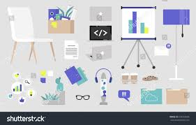 office supply sticker pack office furniture stock vector 728275600