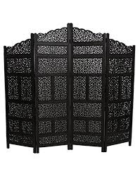 Moroccan Room Divider Moroccan Wooden Black Carved Screen Divider 4 Panel Partition