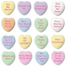 heart candy sayings what if 80s characters wrote messages on candy hearts