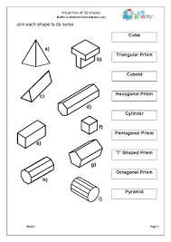 3d shape worksheets from urbrainy