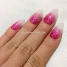 new 24pcs glitter deep pink color talon false nail art tips