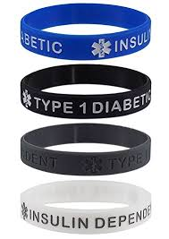 silicone bracelet wristband images Quot type 1 diabetic insulin dependent quot medical alert id jpg