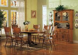 Nostalgia  Piece Inch RoundOval Dining Set With Press Back - Oak dining room sets with hutch