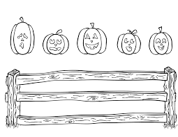 five little pumpkins sitting on a gate coloring page eson me