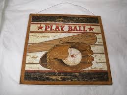 Baseball Bedroom Decor Amazon Com Play Ball Baseball Boys Sports Bedroom Wooden Wood