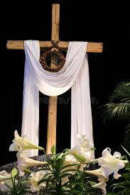 easter resurrection lilies cross and crown of thorns stock