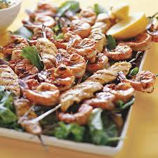 Backyard Bbq Party Menu Grilled Chicken And Shrimp Kebabs With Lemon And Garlic Recipe