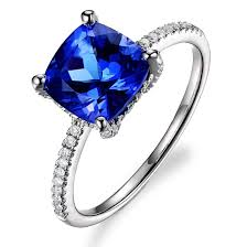 tanzanite stones rings images Simple 2 carat cushion cut tanzanite simulated diamond with 4 jpg