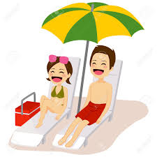 Lounge Chair Umbrella Couple Relaxing Sunbathing Lying On Lounge Chair Under Beach