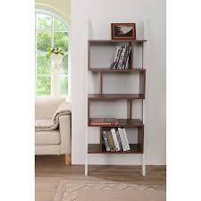5 Shelf Ladder Bookcase by Amazon Com New Walnut White Modern Bookcase Mateo 71