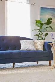 Navy Blue Tufted Sofa Sabina Velvet Tufted Sofa
