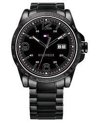 mens black steel bracelet images Tommy hilfiger men 39 s black pvd stainless steel bracelet watch 44mm tif
