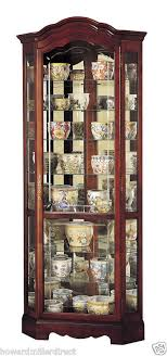 cherry corner curio cabinet howard miller 680 249 jamestown multiple shelves cherry corner