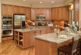 u shaped kitchen designs with island mosaic tile backsplash behind