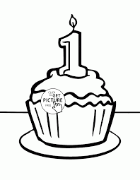 birthday cupcake 1st coloring page for kids holiday coloring