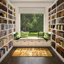home interiors green bay attractive u shape home library design with open wall book shelves