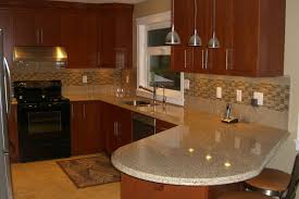 beautiful decorating ideas using cream tile backsplash and brown