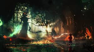 dramatic wallpaper boys monsters fantasy fantasy forests 2560x1440