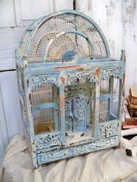 Birdcage Home Decor Sale Vintage Wooden Bird Cage White Chippy Paint Victorian Shabby